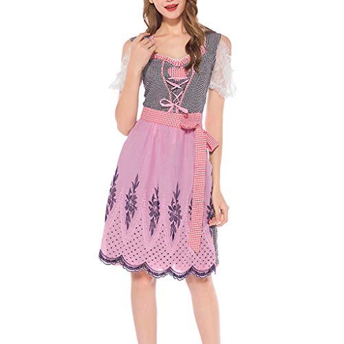 MAYOGO Dirndl Damen Trachtenkleid 2 TLG. Kleid, Schürze, Rosa Plaid Traditionell Bavarian Oktoberfest Damen Kostüm Lolita Kleid Karneval Kleidung