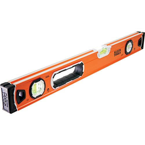 Klein Tools 935L Level, 24-Inch Magnetic Bubble Level with Adjustable Vial and Top V-Groove , Orange