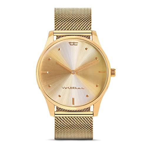 VOLTTIER Reloj de Mujer de Cuarzo Analógico en Acero Inoxidable Antialérgico (Oro)
