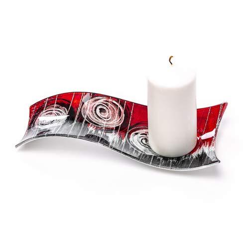 Glasteller gebogen, Dekoteller, Dekoschale für Teelicht, Kerzenteller, Glasschale, Rot/schwarz/Silber, 25cm