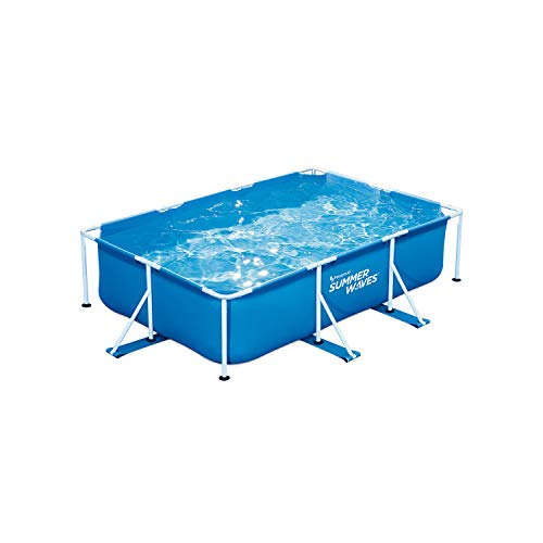 Summer Waves P30710300 9.8 x 6.5 Foot 29.5 Inch Deep Rectangular Small Metal Frame Above Ground Family Backyard Swimming Pool, Blue -  Polygroup