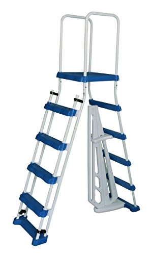 Aqua Select A-Frame Ladder with Removable Steps for Above Ground Pools | 48-inch Pool Wall Height | with Non-Slip Step Tread Risers | Top Platform and Rounded Handrails for Ease of Entry/Exit