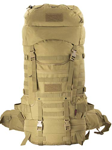 Tactical Internal Frame Backpack Military Rucksack MOLLE Patrol Pack for Hiking Camping Backpacking Trekking with Rain Cover 75L