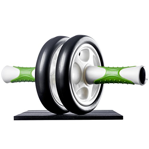 Ultrasport Attrezzo per Addominali AB Roller/Trainer AB Supporto per le Ginocchia, Allenamento Addominali per Uomini, Donne e Persone Anziane, Trainer Muscolare Pieghevole, Taglia Unica, Bianco/Verde