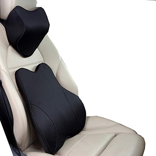 LZRDZSWYXGS Hukphd Car Pillow Seat Cushion Back Support Pillow Lumbar Cushion for Car Travel Neck Support Auto Headrest Pillow, Easy to Install (Color Name : Black Set)