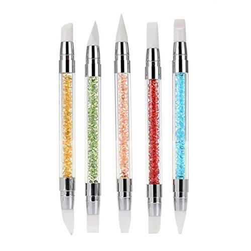Frcolor Silikon-Nail-Art Pinsel Gel schnitzen Kugelschreiber-Bleistift-Werkzeug-Set mit Acryl Strass Griff, 5er Pack