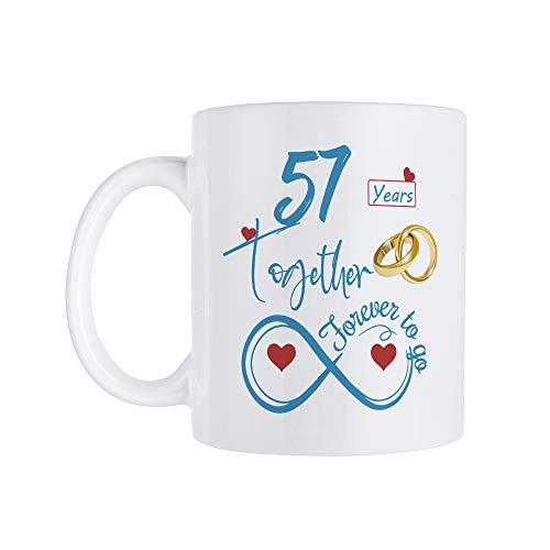 Taza de café para el 57 aniversario de boda para él y ella, taza de 57 aniversario para marido y esposa, casado por 57 años, 57 años junto con ella, 11 onzas