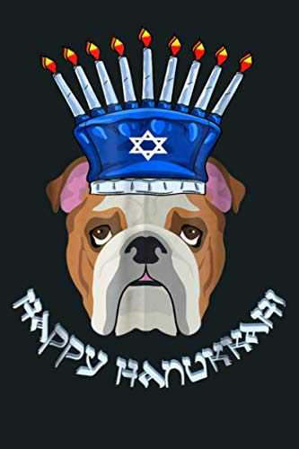 Bulldog Menorah Hat Hanukkah Chanukah: Notebook Planner - 6x9 inch Daily Planner Journal, To Do List Notebook, Daily Organizer, 114 Pages