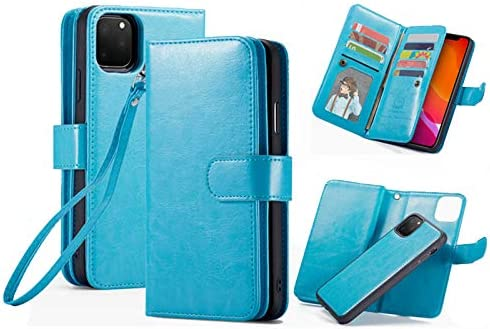 iPhone 11 Pro Max Wallet Case,HYSJY PU Leather Detachable Magnetic Women with 9 Card Slots Wrist Strap Removable Shockproof Slim Cover for iPhone 11 Pro Max 6.5 inch (9-Blue, iPhone 11 Pro Max)