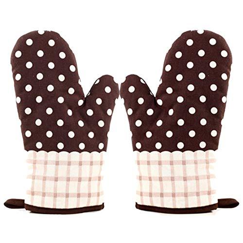 MeiGuiSha Ofenhandschuhe Baumwolle 2er Set bis zu 180 °C - Hitzebeständige BBQ Grillhandschuhe, Backofen Handschuhe Backhandschuhe zum Küche Kochen, Backen, Mikrowelle, Kaffee / Weiße Punkte