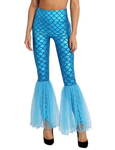 TiaoBug Damen Meerjungfrau Leggings Glänzend Hose Pants mit Tüll Schlaghose Fischschuppen Druck Faschingskostüm Karneval Verkleidung Blau XL