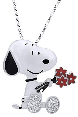 AFFY Snoopy Holding Flowers Enamel Sterling Silver Pendant Necklace