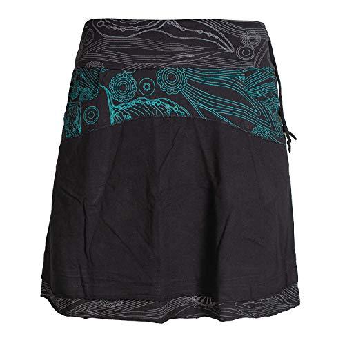 Vishes - Alternative Bekleidung - Kurzer Lagen-Look Baumwoll-Rock Bedruckter Breiter Bund mit Taschen schwarz 38