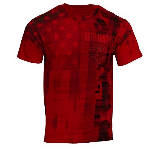 Harley-Davidson 2020 Sturgis Men's Motion 80th Rally Short Sleeve T-Shirt (Large) Red
