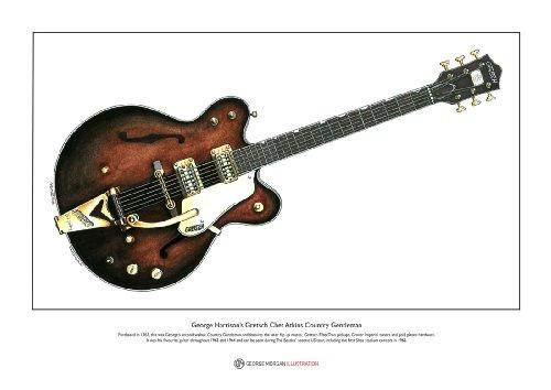 Impresión Fino de Bella Arte. Gretsch Chet Atkins Country Gentleman de George Harrison - edición Limitada, tamaño A3
