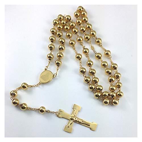 YZRDY Joyería De Acero Inoxidable Rosario Collar Cross Collares Collares Pesado Color Oro Hombres Joyería (Metal Color : Gold Color)