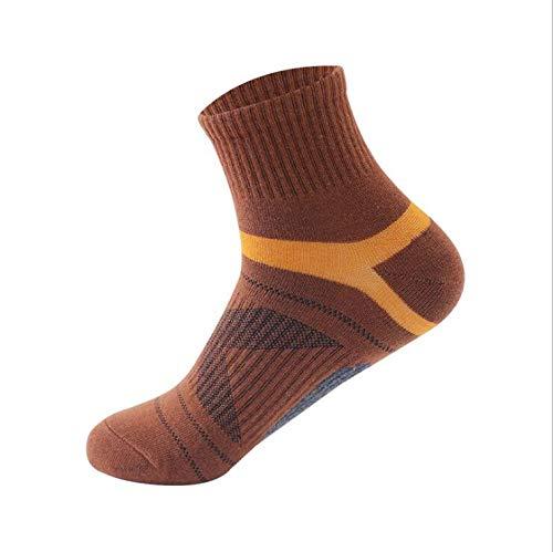 Byrhgood 5 Pares/Lote Peinado Calcetines de algodón nuevos Calcetines Activos Transpirables Casuales Hombre Stripe Largo Sock EU39-45 (Color : Khaki)