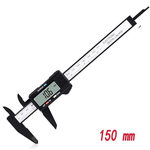 Avanzada Pie de rey, de 150 mm de 100 mm de 6 pulgadas de pantalla digital de fibra de carbono Electrónico Calibre pie de rey herramienta de medición del micrómetro digital regla, Millimeter / pulgada