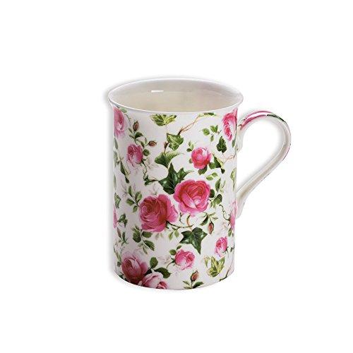 Maxwell & Williams S568473 Royal Old England Becher, Kaffeebecher, Tasse, Motiv: Frühlingsrose, in Geschenkbox, Porzellan