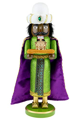 Clever Creations Traditional Nativity Wise Man Nutcracker with Gold | Festive Christmas Decor | 14' Tall Perfect for Shelves and Tables