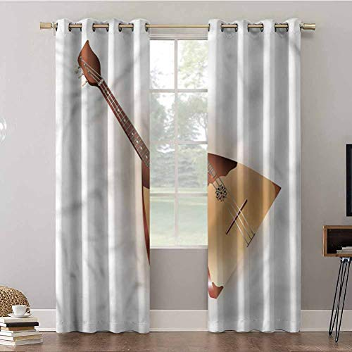 Aishare Store Curtains, 84 inches long Panels Window Draperies, Balalaika,Triangular Russian Music, Insulating Room Darkening Blackout Drapes for Bedroom(2 Panels)
