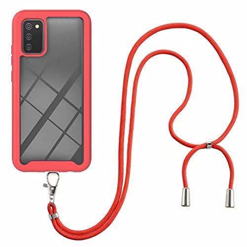 Funda cruzada para Moto G Stylus (2021), collar de grado militar con correa de cordón para Moto G Stylus (2021) transparente TPU suave cubierta titular con cordón para el cuello, color rojo