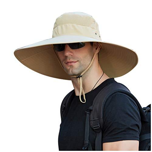 ddfd Sombrero de Cubo Impermeable con Protector Solar de ala Ancha de Color SóLido para Hombres, Sombrero de Sol Universal con ProteccióN UV para Acampar y Escalar MontañAs