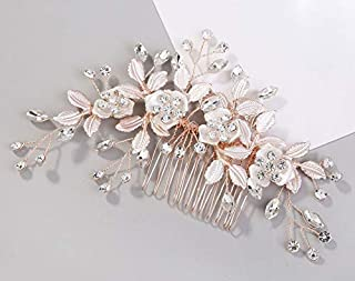FaFaVila Light Rose Gold Wedding Clip Rhinestone Bridal Comb Handmade Flower Clip Head Pieces for Women for Brides and Bridesmaids (Style03)
