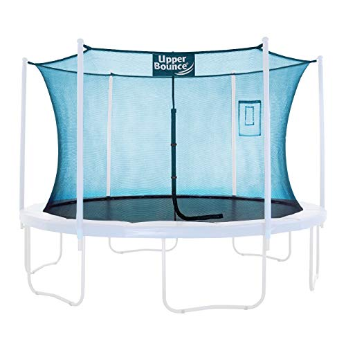 Upper Bounce Trampoline Safety Enclosure Replacement Net with Smartphone/Tablet Selfie & Livestream Pouch, Fits 14' Round Trampoline, Using 6 Curved Poles with Top Ring Frame - Aquamarine