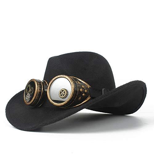 Xuguiping Cowboy herenmuts van westerse wol, met bril van marsepein, oprolbare hoed voor Sombrero Fascinator, maat 56-58 cm 56-58 Zwart