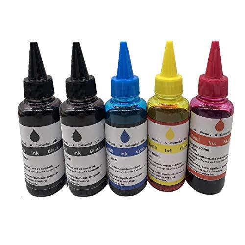 Kit de tinta de repuesto para impresora de inyección de tinta de 100 ml, para HP 564 364 920 902 63 cartuchos recargables CISS con jeringa (4 colores + 1 negro)
