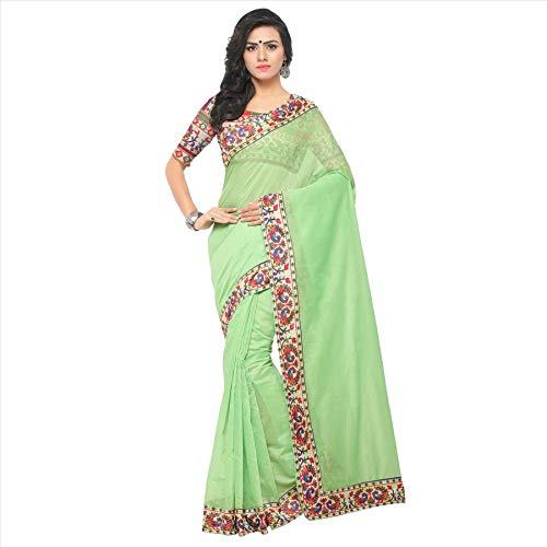 Indische Bollywood Hochzeit Saree indische ethnische Hochzeit Sari neue Kleid Damen lässig Tuch Geburtstag Ernte Top Mädchen Frauen schlicht traditionelle Party Wear Readymade Kostüm (Green 2)