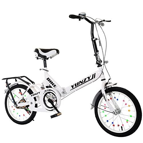 ROYWY Bicicleta Plegable para Adultos, 16 Pulgadas Adecuada para 115-145cm, Bicicleta de montaña prémium para niños, niñas, Hombres y Mujeres/A