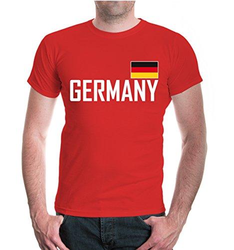 buXsbaum® Herren T-Shirt Germany | Deutschland Allemagne Alemania Europa Ländershirt Fanshirt Trikot Reise | M, Rot