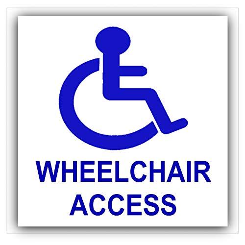 Platina plaats 1 x Rolstoel Toegang Sticker-Blauw op Wit-handicap Mobility Zelfklevende Teken