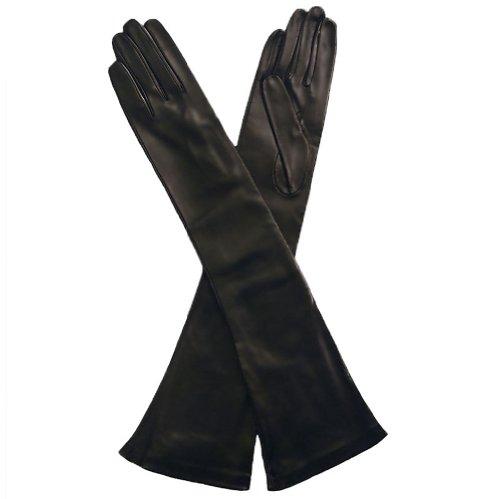 Opera Length Italian Leather Gloves. 12bt. By Solo Classe (M, Black)