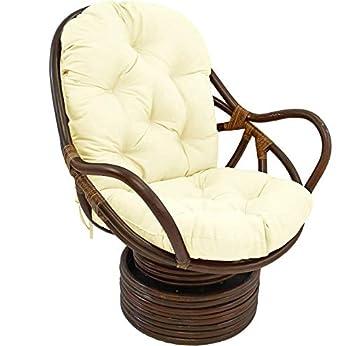 KSWD Rattan Papasan Chair Cushion Not Rattan Frame Swivel Rocker Chair Cushion Hanging Egg Hammock Chair Pads Needles Twill Solid-48x24x5Inch White