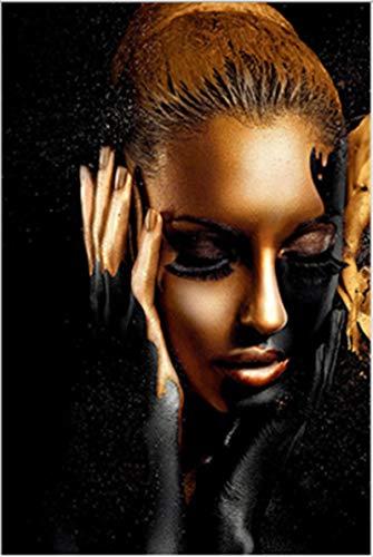 QWEWQE Leinwand Bild, Abstrakte Leinwand Poster von Afrika Frau, Schwarz Gold Afrika Frau Leinwandbild, abstrakt Gold wandbild Für küche Wohnzimmer (60 * 90 cm)