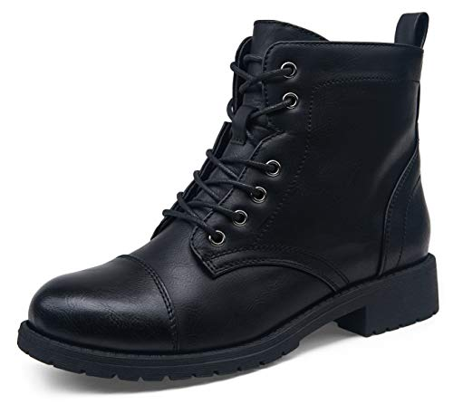 VEPOSE Women's Ankle Boots Black Fashion Booties Low Heel Lace up Ankle Boots for Women Size 8(CJY910 black 08)