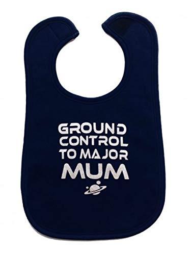 Lot de 2 bavoirs pour bébé avec inscription « Ground Control To Major Mum » inspiré de David Bowie pour bébé garçon ou fille Ziggy Stardust [lot de 2, 0-3 ans] – Baby shower, unisexe neutre ou double cadeau pour bébé | BABY MOO'S UK