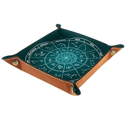 YATELI Caja de Almacenamiento pequeña, Bandeja de Valet para Hombre,Rueda del Zodiaco Verde,Organizador de Cuero para Llaves de Caja de Monedas
