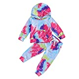 Toddler Kids Baby Girl Winter Clothes Set Tie Dye Print Long Sleeve Pocket Hoodies Top with Pants 2Pcs Tracksuit Sweatshirts (Spiral-Rose&Blue, 4T / 5T)