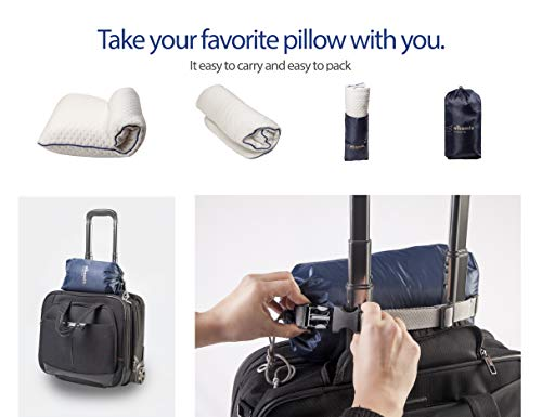 ALKAMTO Travel & Camping Comfortable Memory Foam Pillow with Extra Cotton Cover – Easy to Carry Portable Bag – Temperature Regulating Pillow Case - Perfect for Travelling/Fishing/Backpacking/Hiking