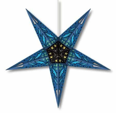 Whirled Planet Dolphin Paper Star Lantern in Blue
