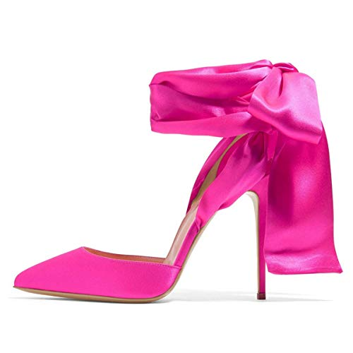 FSJ Women Strappy Ankle Wrap Sandals Pointed Toe High Heels D'Orsay Slingback Pumps Shoes Size 8 Hot Pink