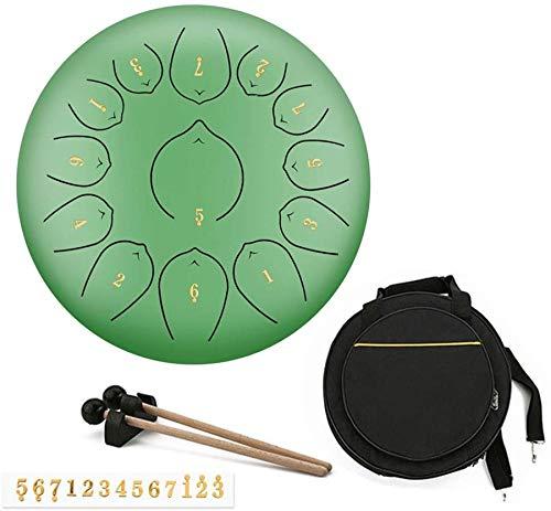 Clásico 12 Pulgadas 13 Nota Handpan lengua Percusión Instrumento Lotus Mano Pan de tambor con el tambor de goma regalo musical mazo y bolsa de viaje, yoga, meditación, musicoterapia Aplicable a la edu