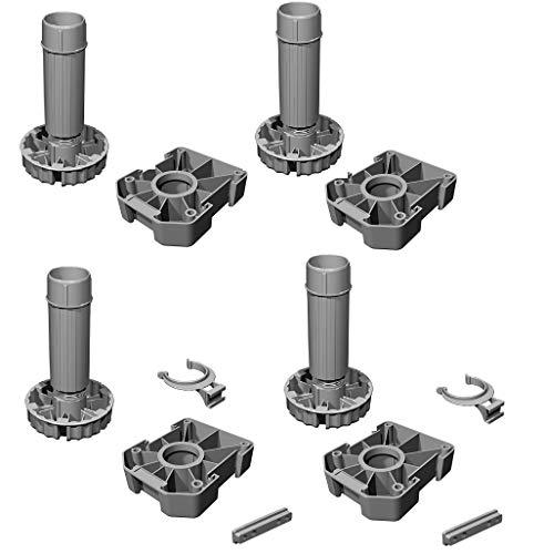 Gedotec Möbelfüße Küchen-Unterschrank Sockelfüße höhen-verstellbar Kunststoff schwarz | Stellfuß mit Höhe 200 mm | KOMPLETT SET | Verstellfüße 500 kg Tragkraft | 4er Set - Schrank-Füße für Möbel