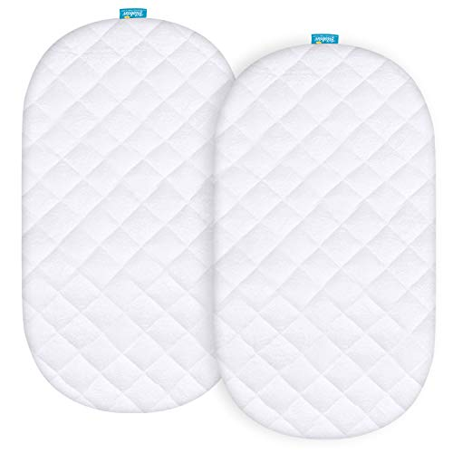 Waterproof Mattress Protector, Quilted Mattress Cover for Moses Basket Mattress, 2 Pack, Ultra Soft Bamboo Sleep Surface, White