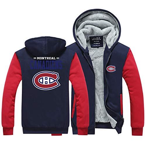 Herren Hoodie NHL Canadiens Herren Winter Warm Front Zip Jacken Kapuzen Fleece Hoodies Sweatshirt Wolle Dicke Mäntel