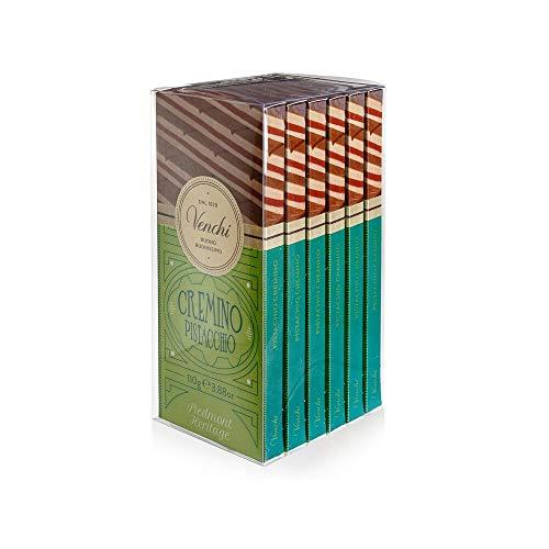 Venchi Kit 6 Tavolette Cremino Pistacchio- Cioccolato al Latte e Bianco con Pasta di Pistacchio- senza Glutine- 660 Grammi